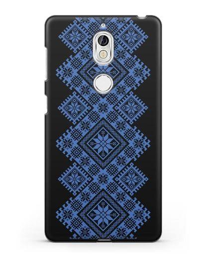 Чехол с синим белорусским орнаментом и символами Богатство, Огонь, Молодость силикон черный для Nokia 7