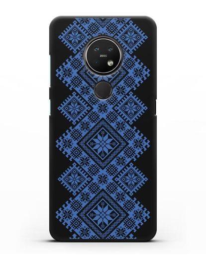 Чехол с синим белорусским орнаментом и символами Богатство, Огонь, Молодость силикон черный для Nokia 7.2