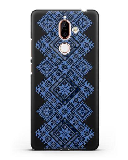 Чехол с синим белорусским орнаментом и символами Богатство, Огонь, Молодость силикон черный для Nokia 7 plus