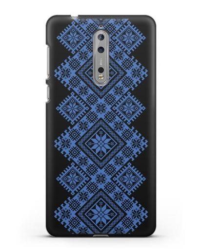 Чехол с синим белорусским орнаментом и символами Богатство, Огонь, Молодость силикон черный для Nokia 8