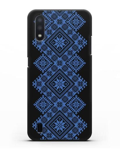 Чехол с синим белорусским орнаментом и символами Богатство, Огонь, Молодость силикон черный для Samsung Galaxy A01 [SM-A015F]
