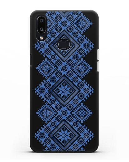 Чехол с синим белорусским орнаментом и символами Богатство, Огонь, Молодость силикон черный для Samsung Galaxy A10s [SM-F107F]