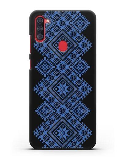 Чехол с синим белорусским орнаментом и символами Богатство, Огонь, Молодость силикон черный для Samsung Galaxy A11 [SM-A115F]
