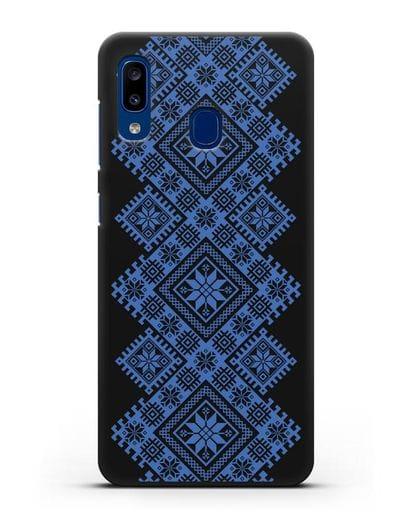 Чехол с синим белорусским орнаментом и символами Богатство, Огонь, Молодость силикон черный для Samsung Galaxy A20 [SM-A205FN]