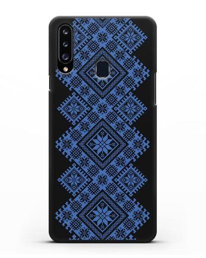 Чехол с синим белорусским орнаментом и символами Богатство, Огонь, Молодость силикон черный для Samsung Galaxy A20s [SM-A207FN]