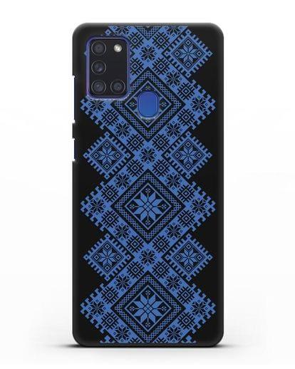 Чехол с синим белорусским орнаментом и символами Богатство, Огонь, Молодость силикон черный для Samsung Galaxy A21s [SM-A217F]
