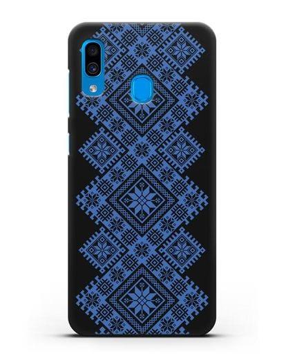 Чехол с синим белорусским орнаментом и символами Богатство, Огонь, Молодость силикон черный для Samsung Galaxy A30 [SM-A305FN]