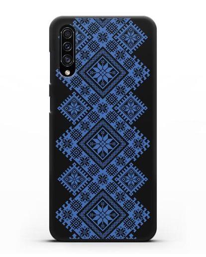 Чехол с синим белорусским орнаментом и символами Богатство, Огонь, Молодость силикон черный для Samsung Galaxy A30s [SM-A307FN]