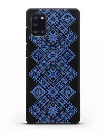 Чехол с синим белорусским орнаментом и символами Богатство, Огонь, Молодость силикон черный для Samsung Galaxy A31 [SM-A315F]