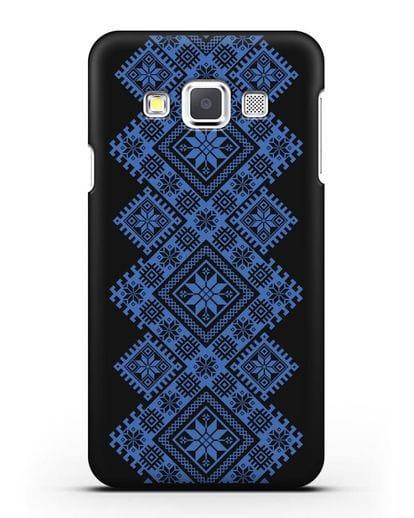 Чехол с синим белорусским орнаментом и символами Богатство, Огонь, Молодость силикон черный для Samsung Galaxy A3 2015 [SM-A300F]