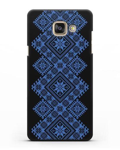 Чехол с синим белорусским орнаментом и символами Богатство, Огонь, Молодость силикон черный для Samsung Galaxy A3 2016 [SM-A310F]