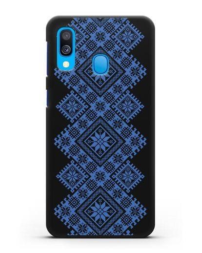 Чехол с синим белорусским орнаментом и символами Богатство, Огонь, Молодость силикон черный для Samsung Galaxy A40 [SM-A405F]