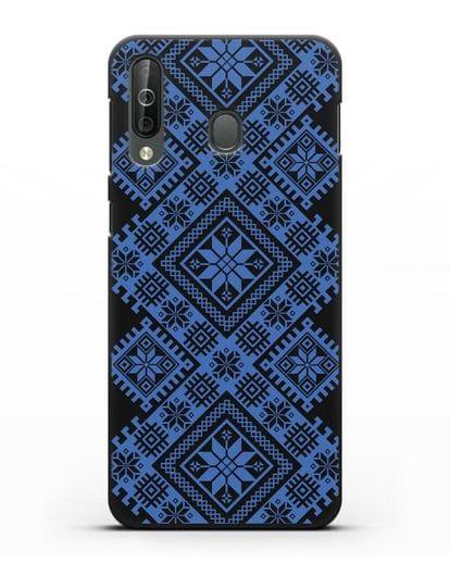 Чехол с синим белорусским орнаментом и символами Богатство, Огонь, Молодость силикон черный для Samsung Galaxy A40s [SM-A507FN]