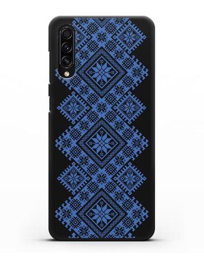Чехол с синим белорусским орнаментом и символами Богатство, Огонь, Молодость силикон черный для Samsung Galaxy A50s [SM-F507FN]