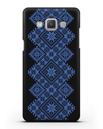 Чехол с синим белорусским орнаментом и символами Богатство, Огонь, Молодость силикон черный для Samsung Galaxy A5 2015 [SM-A500F]
