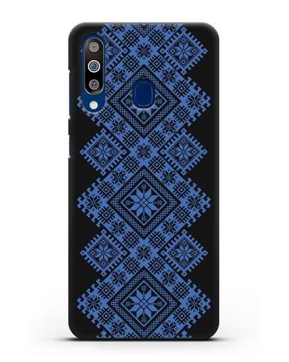 Чехол с синим белорусским орнаментом и символами Богатство, Огонь, Молодость силикон черный для Samsung Galaxy A60 [SM-A606F]