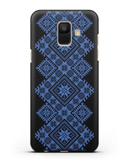 Чехол с синим белорусским орнаментом и символами Богатство, Огонь, Молодость силикон черный для Samsung Galaxy A6 2018 [SM-A600F]