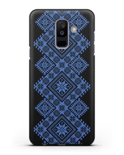 Чехол с синим белорусским орнаментом и символами Богатство, Огонь, Молодость силикон черный для Samsung Galaxy A6 Plus 2018 [SM-A605F]