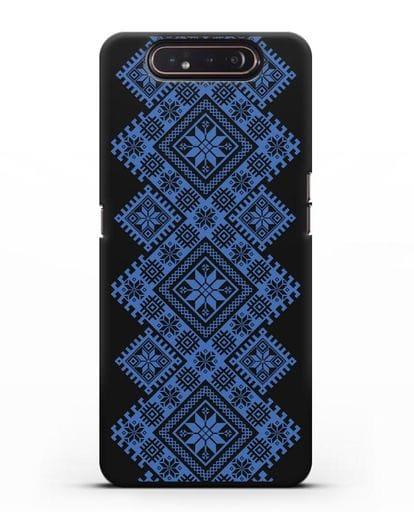 Чехол с синим белорусским орнаментом и символами Богатство, Огонь, Молодость силикон черный для Samsung Galaxy A80 [SM-A805F]