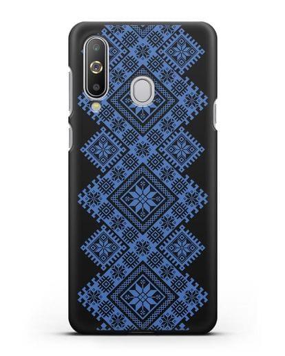 Чехол с синим белорусским орнаментом и символами Богатство, Огонь, Молодость силикон черный для Samsung Galaxy A8s [SM-G8870]