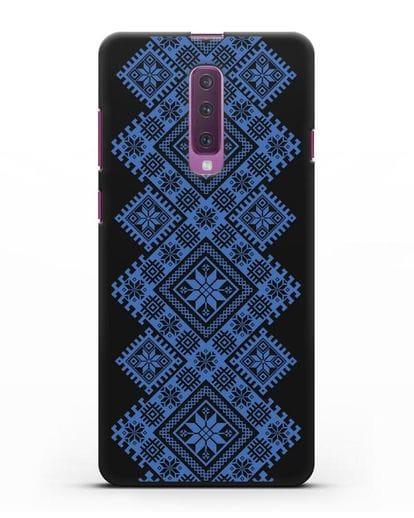 Чехол с синим белорусским орнаментом и символами Богатство, Огонь, Молодость силикон черный для Samsung Galaxy A90 [SM-A908N]