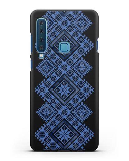 Чехол с синим белорусским орнаментом и символами Богатство, Огонь, Молодость силикон черный для Samsung Galaxy A9 (2018) [SM-A920]
