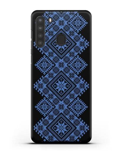 Чехол с синим белорусским орнаментом и символами Богатство, Огонь, Молодость силикон черный для Samsung Galaxy A21 [SM-A215]