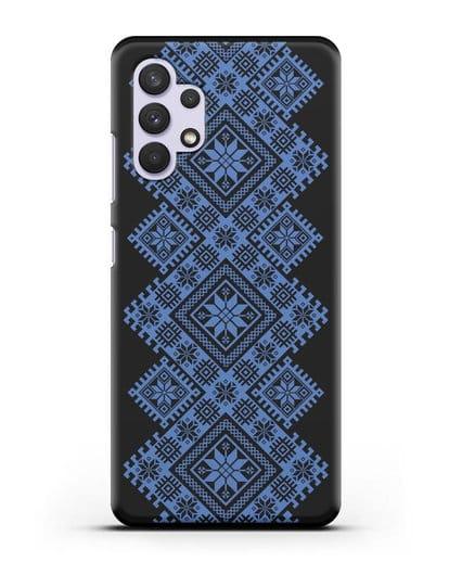 Чехол с синим белорусским орнаментом и символами Богатство, Огонь, Молодость силикон черный для Samsung Galaxy A32 [SM-A325F]