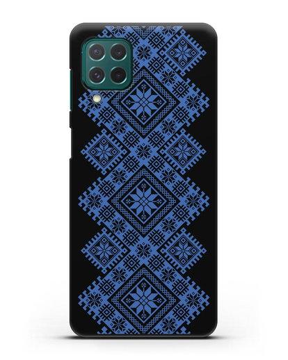 Чехол с синим белорусским орнаментом и символами Богатство, Огонь, Молодость силикон черный для Samsung Galaxy M62 [SM-M625F]