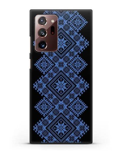 Чехол с синим белорусским орнаментом и символами Богатство, Огонь, Молодость силикон черный для Samsung Galaxy Note 20 Ultra [SM-N985F]