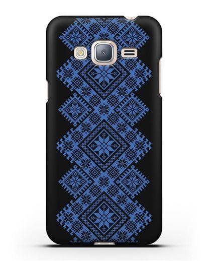 Чехол с синим белорусским орнаментом и символами Богатство, Огонь, Молодость силикон черный для Samsung Galaxy J3 2016 [SM-J320F]