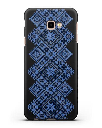Чехол с синим белорусским орнаментом и символами Богатство, Огонь, Молодость силикон черный для Samsung Galaxy J4 Plus [SM-J415]