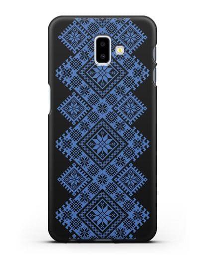 Чехол с синим белорусским орнаментом и символами Богатство, Огонь, Молодость силикон черный для Samsung Galaxy J6 Plus [SM-J610F]