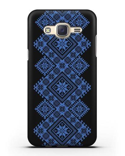 Чехол с синим белорусским орнаментом и символами Богатство, Огонь, Молодость силикон черный для Samsung Galaxy J7 2015 [SM-J700H]