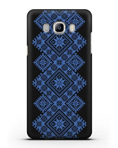 Чехол с синим белорусским орнаментом и символами Богатство, Огонь, Молодость силикон черный для Samsung Galaxy J7 2016 [SM-J710F]