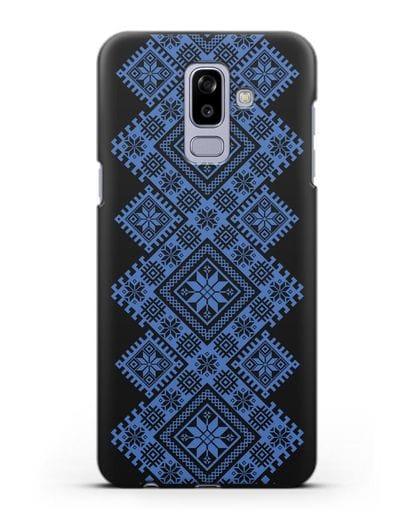 Чехол с синим белорусским орнаментом и символами Богатство, Огонь, Молодость силикон черный для Samsung Galaxy J8 2018 [SM-J810F]