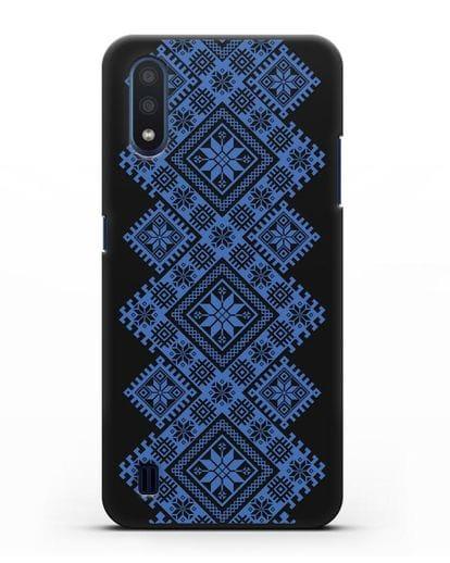 Чехол с синим белорусским орнаментом и символами Богатство, Огонь, Молодость силикон черный для Samsung Galaxy M01 [SM-M015F]