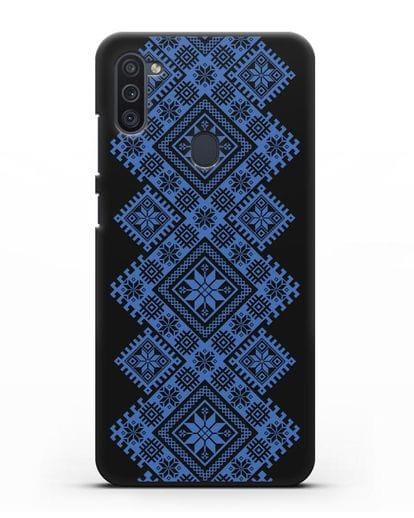 Чехол с синим белорусским орнаментом и символами Богатство, Огонь, Молодость силикон черный для Samsung Galaxy M11 [SM-M115F]