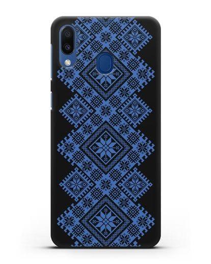 Чехол с синим белорусским орнаментом и символами Богатство, Огонь, Молодость силикон черный для Samsung Galaxy M20 [SM-M205F]