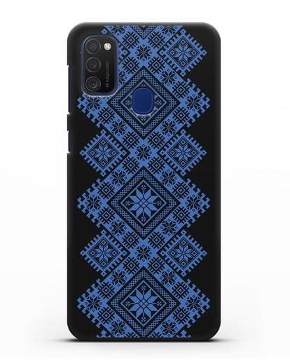 Чехол с синим белорусским орнаментом и символами Богатство, Огонь, Молодость силикон черный для Samsung Galaxy M21 [SM-M215F]