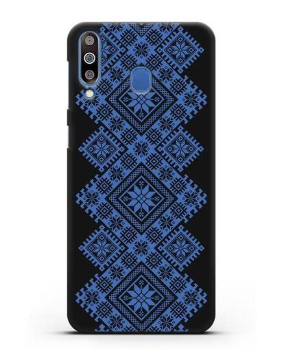 Чехол с синим белорусским орнаментом и символами Богатство, Огонь, Молодость силикон черный для Samsung Galaxy M30 [SM-M305F]