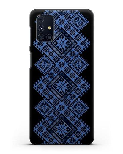 Чехол с синим белорусским орнаментом и символами Богатство, Огонь, Молодость силикон черный для Samsung Galaxy M31s [SM-M317F]