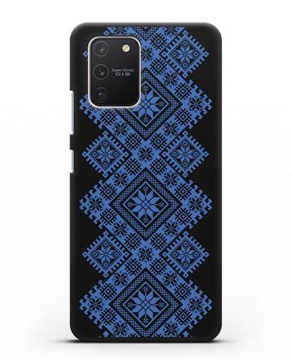 Чехол с синим белорусским орнаментом и символами Богатство, Огонь, Молодость силикон черный для Samsung Galaxy S10 lite [SM-G770F]