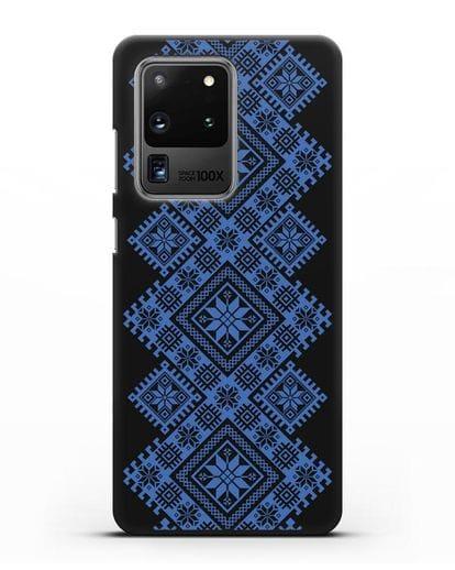 Чехол с синим белорусским орнаментом и символами Богатство, Огонь, Молодость силикон черный для Samsung Galaxy S20 Ultra [SM-G988B]