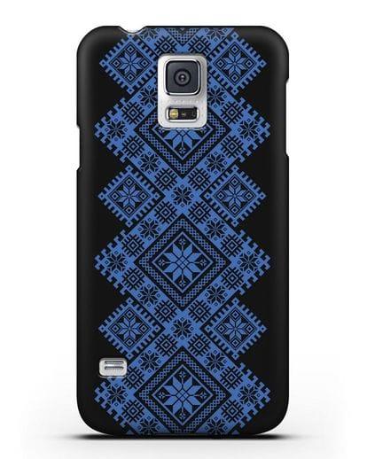 Чехол с синим белорусским орнаментом и символами Богатство, Огонь, Молодость силикон черный для Samsung Galaxy S5 [SM-G900F]