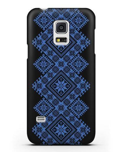 Чехол с синим белорусским орнаментом и символами Богатство, Огонь, Молодость силикон черный для Samsung Galaxy S5 Mini [SM-G800F]