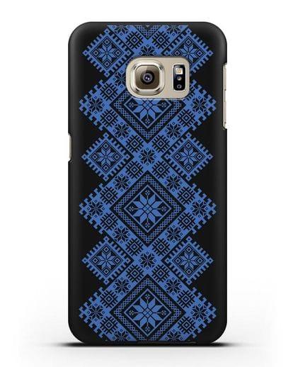Чехол с синим белорусским орнаментом и символами Богатство, Огонь, Молодость силикон черный для Samsung Galaxy S6 Edge Plus [SM-928F]