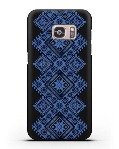 Чехол с синим белорусским орнаментом и символами Богатство, Огонь, Молодость силикон черный для Samsung Galaxy S7 Edge [SM-G935F]