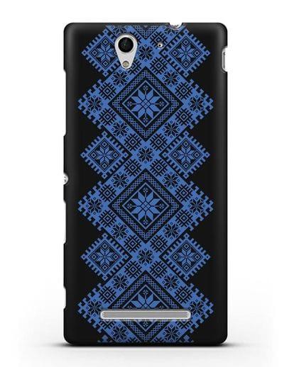 Чехол с синим белорусским орнаментом и символами Богатство, Огонь, Молодость силикон черный для Sony Xperia C3
