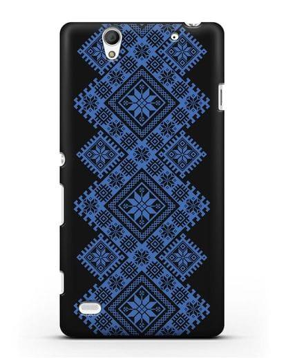 Чехол с синим белорусским орнаментом и символами Богатство, Огонь, Молодость силикон черный для Sony Xperia C4